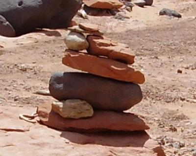 photo of desert cairn