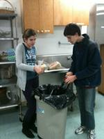 Emma and Ian preparing latkes
