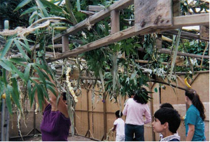 image of kids and adults building a sukkah