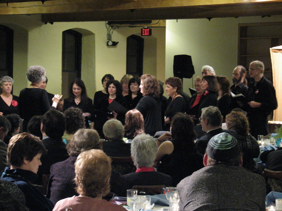 Choir singing at Mishkan inaugural service