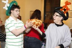 Lior making Motzi with Rabbi Linda